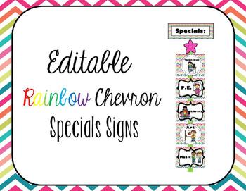 EDITABLE Rainbow Chevron Specials Signs