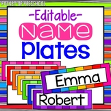 EDITABLE Rainbow Name Plates for Student Name Tags