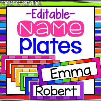 photo relating to Printable Name Tags for Preschool named EDITABLE Rainbow Track record Plates for Scholar Track record Tags