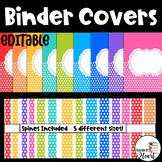 EDITABLE Rainbow Polka Dot Binder Covers