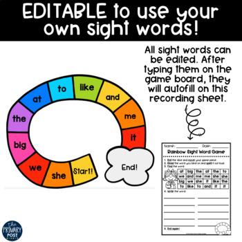 EDITABLE Rainbow Sight Word Game