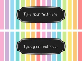 EDITABLE Rainbow Striped Labels