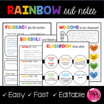 EDITABLE Rainbow Sub Plans Template