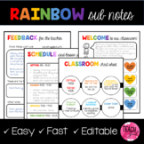 EDITABLE Rainbow Sub Plans Template
