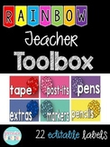 {EDITABLE} Rainbow Teacher Toolbox Labels