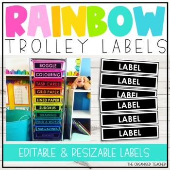 EDITABLE Rainbow Trolley Labels!