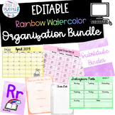 EDITABLE Rainbow Watercolor Organization GROWING Bundle