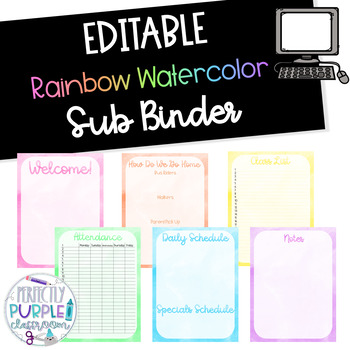 EDITABLE Rainbow Watercolor Sub Binder