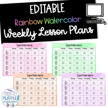 EDITABLE Rainbow Watercolor Weekly Lesson Plans