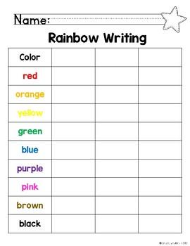 EDITABLE Rainbow Write Sight Words