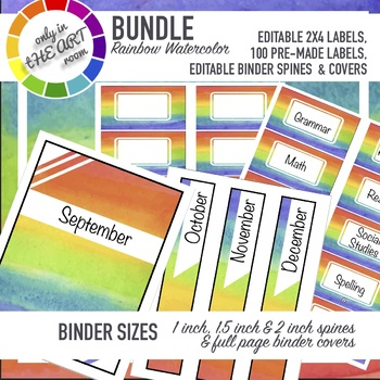 photo regarding Printable Binder Labels named EDITABLE Rainbow ombre Offer binder labels printable labels 10 for each website page