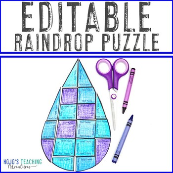 EDITABLE Raindrop Puzzle | Create your own SPRING GAME on ANY topic!