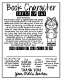 EDITABLE Character Dress Up Day Parent Letter