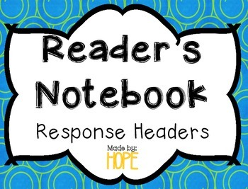 EDITABLE Reader's Notebook