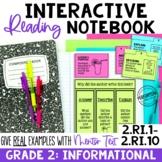 EDITABLE Reading Interactive Notebook | 2nd Grade Informat