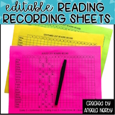 EDITABLE Reading Recording Sheets