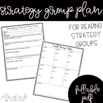 EDITABLE Reading Strategy Group Planner