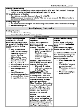 EDITABLE ReadyGen Grade 1 Unit 2 Module A Lesson 3