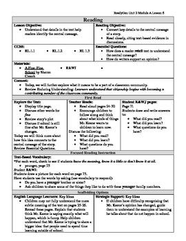 EDITABLE ReadyGen Grade 1 Unit 2 Module A Lesson 6