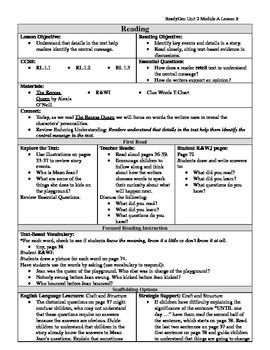 EDITABLE ReadyGen Grade 1 Unit 2 Module A Lesson 9