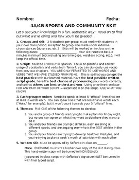 EDITABLE Realidades Spanish I Tema 4 4a 4b SKIT COMMUNITY SPORTS - Detailed!!