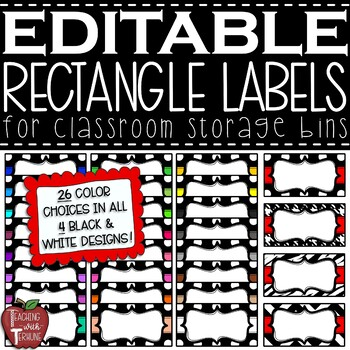 EDITABLE Rectangle Labels {great for the Really Good Stuff bin label clips}