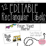 EDITABLE Rectangular Labels