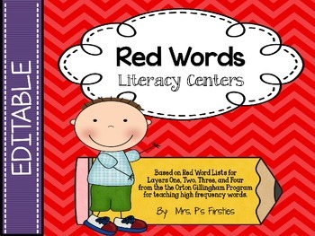 EDITABLE Red Word Literacy Centers