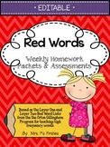 EDITABLE Red Words Homework and Assessments
