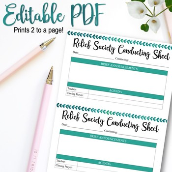 EDITABLE Relief Society Conducting Sheet - INSTANT DOWNLOAD