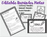 EDITABLE Reminder Notes Bundle, Conference, Due Dates, Hom