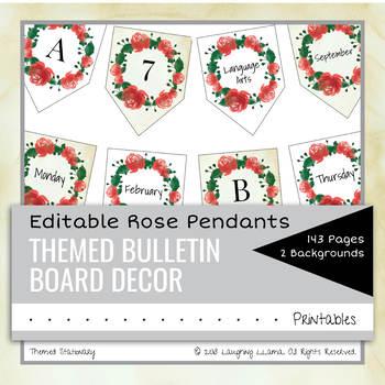 EDITABLE Rose Letter Pendants Flags Bulletin Board Decor Alphabet Calendar