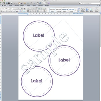 EDITABLE Round Labels