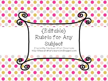 {EDITABLE} Rubric for Any Subject!