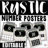 EDITABLE Rustic Shiplap Number Posters
