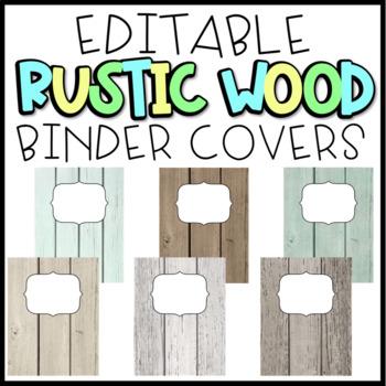 EDITABLE Rustic Wood Binder Covers FREEBIE