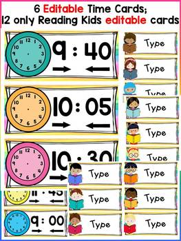 EDITABLE SCHEDULE CARDS: READING THEME
