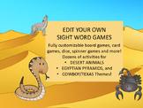 EDITABLE SIGHT WORD GAMES DESERT ANIMALS HABITAT TEXAS COWBOY EGYPT