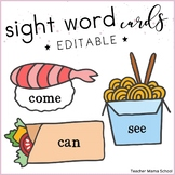 EDITABLE SIGHT WORDS Cards and Mini-Book