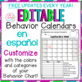EDITABLE SPANISH Behavior Calendars 2018-2019 *FREE ANNUAL