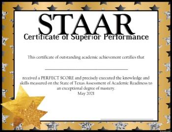 EDITABLE! --- STAAR Achievement Awards --Mastery --Advanced -- Perfect Score