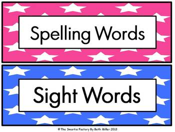 Word Wall Labels and Decor Packet: EDITABLE (Star)