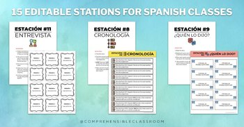 EDITABLE STATIONS for Spanish classes
