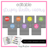 EDITABLE STRIPES BINDER COVERS (INCLUDES SPINES)