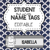 EDITABLE STUDENT TAGS (BLACK AND WHITE)