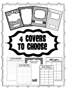 EDITABLE~ SUBSTITUTE TEACHER BINDER KIT {BLACK & WHITE}