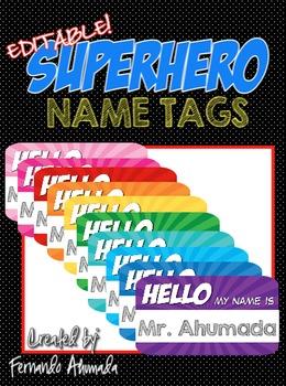 EDITABLE SUPERHERO NAME TAGS (FOR STUDENT CHAIRS OR DESK)