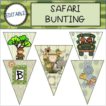 EDITABLE Safari Bunting/Banner