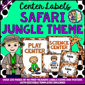 EDITABLE Safari Jungle Theme Classroom Center Signs and Labels BACK TO SCHOOL