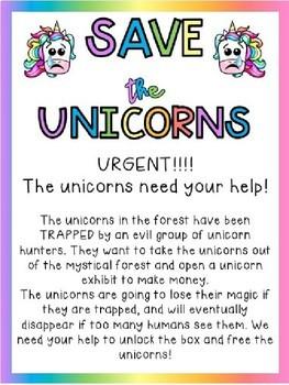 EDITABLE Save the Unicorns Unlock the Classroom